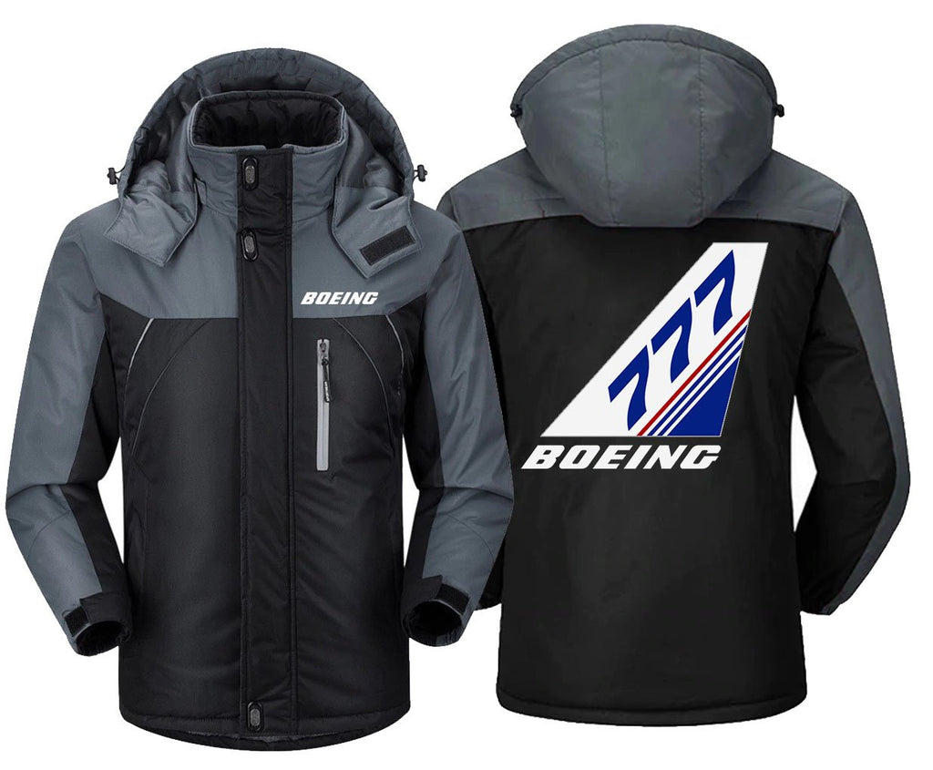 B0ELNG 777 DESIGNED WINDBREAKER - Black Gray / XS -