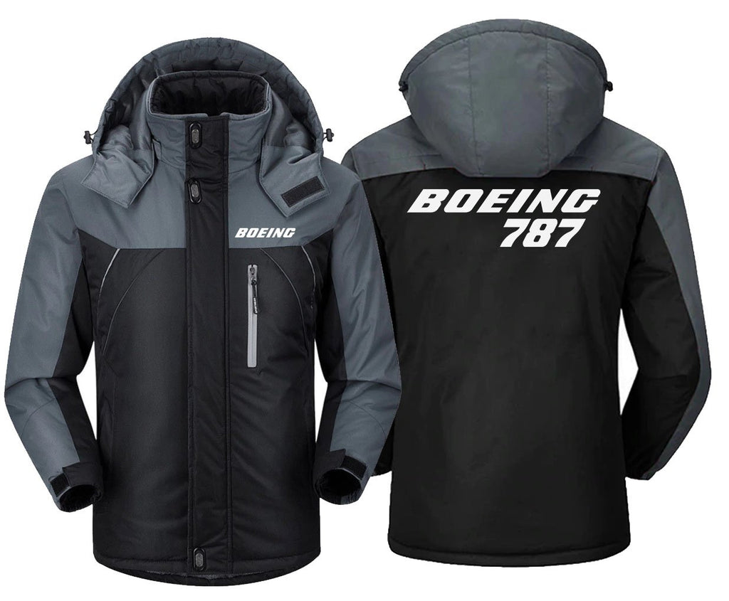 B0ELNG 787 DESIGNED WINDBREAKER - Black Gray / XS -