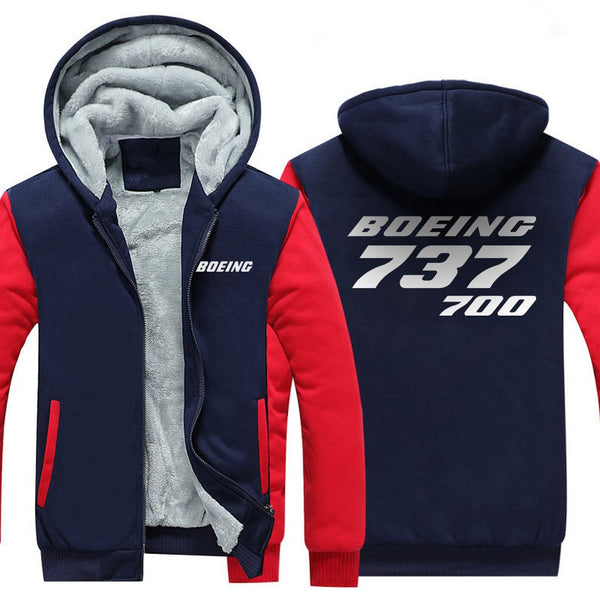 B737 700 DESIGNED ZIPPER SWEATER - Red / S - Hoodies
