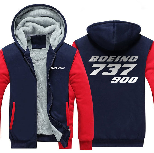 B737 9000 DESIGNED ZIPPER SWEATER - Red / S - Hoodies