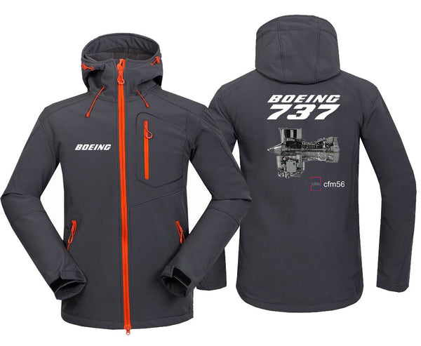 B737 CFM56 DESIGNED FLEECE - Dark Gray / S - Hoodie Jacket