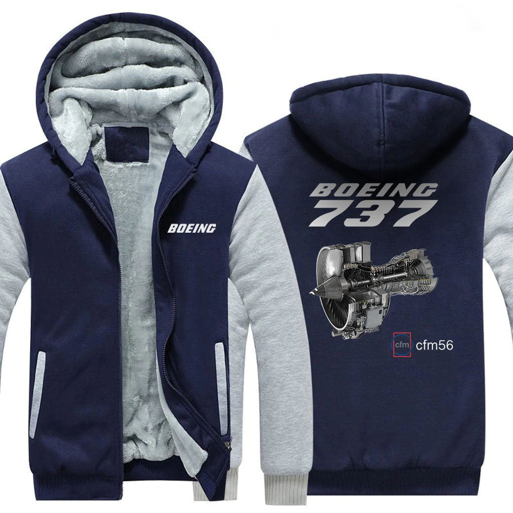 B737 CFM56 DESIGNED ZIPPER SWEATER - Blue / S - Hoodies