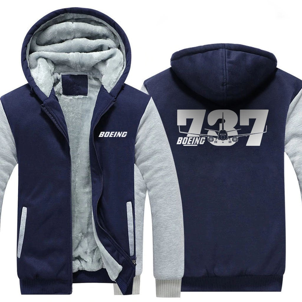 B737 DESIGNED ZIPPER SWEATER - Blue / S - Hoodies
