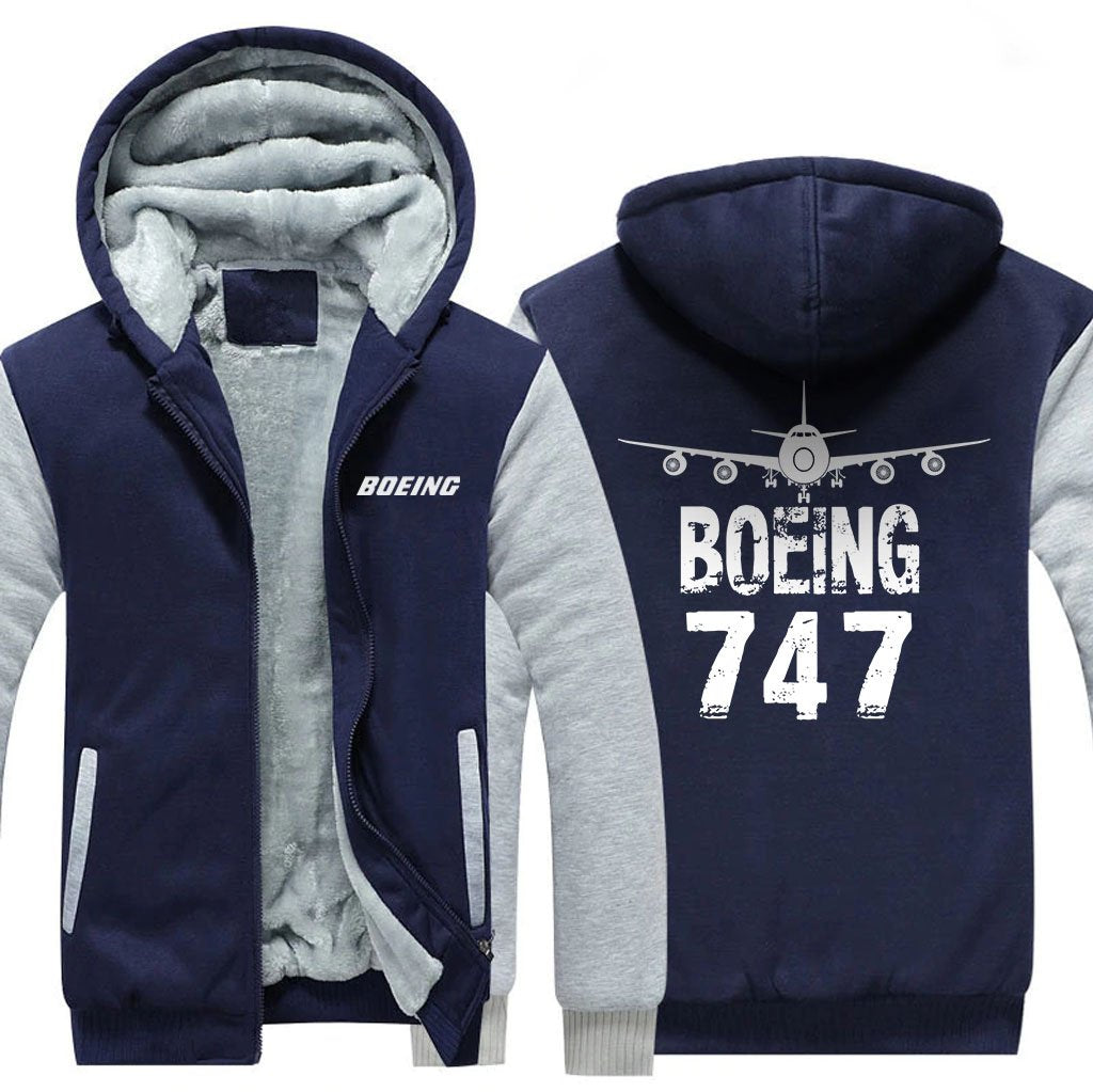 B747 DESIGNED ZIPPER SWEATER - Blue / S - Hoodies