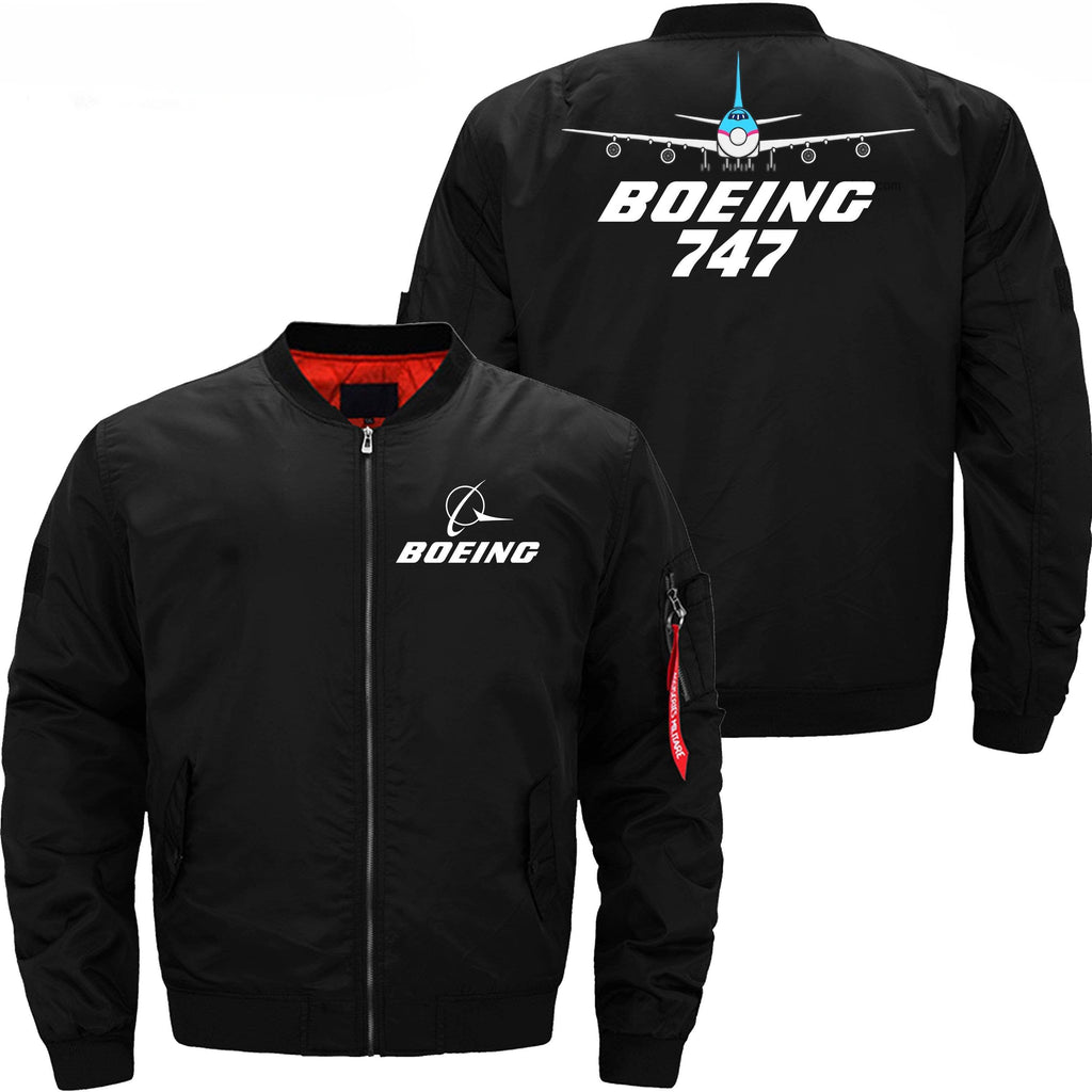 PilotX Jacket Black thin / XS Boeing 747 With Aircraft -US Size