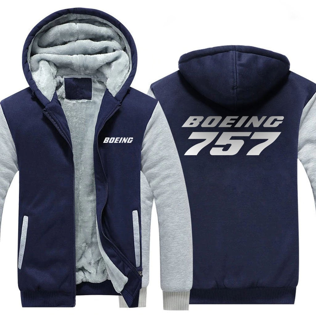 B757 DESIGNED ZIPPER SWEATER - Blue / S - Hoodies
