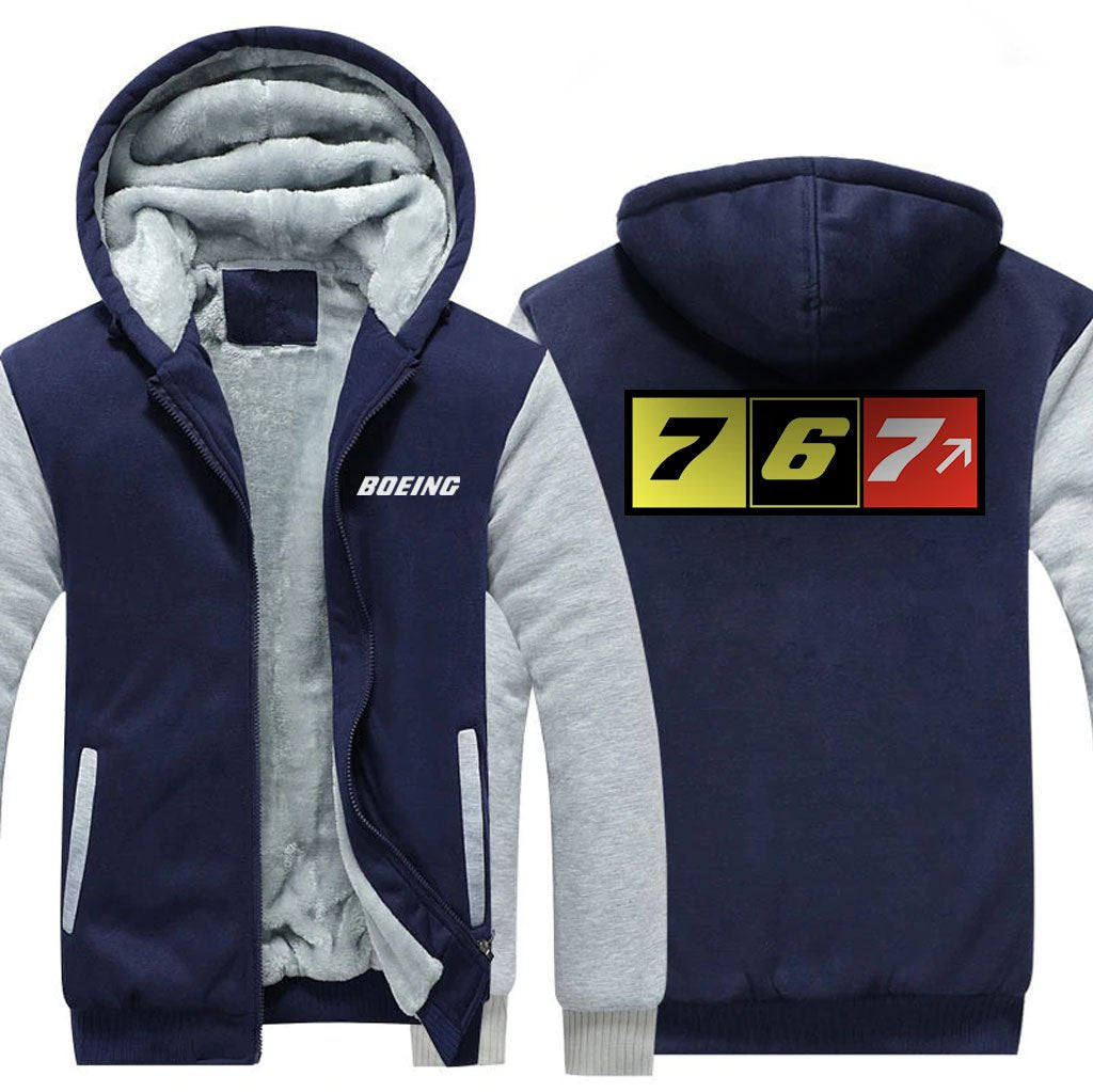 B767 DESIGNED ZIPPER SWEATER - Blue / S - Hoodies