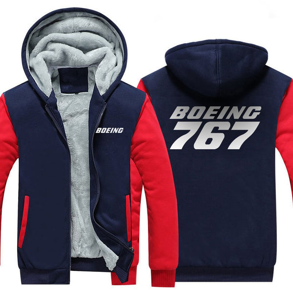 B767 DESIGNED ZIPPER SWEATER - Red / S - Hoodies