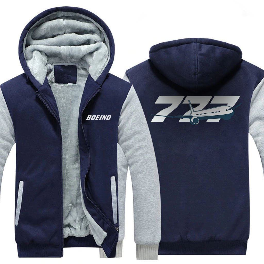 B777 DESIGNED ZIPPER SWEATER - Blue / S - Hoodies