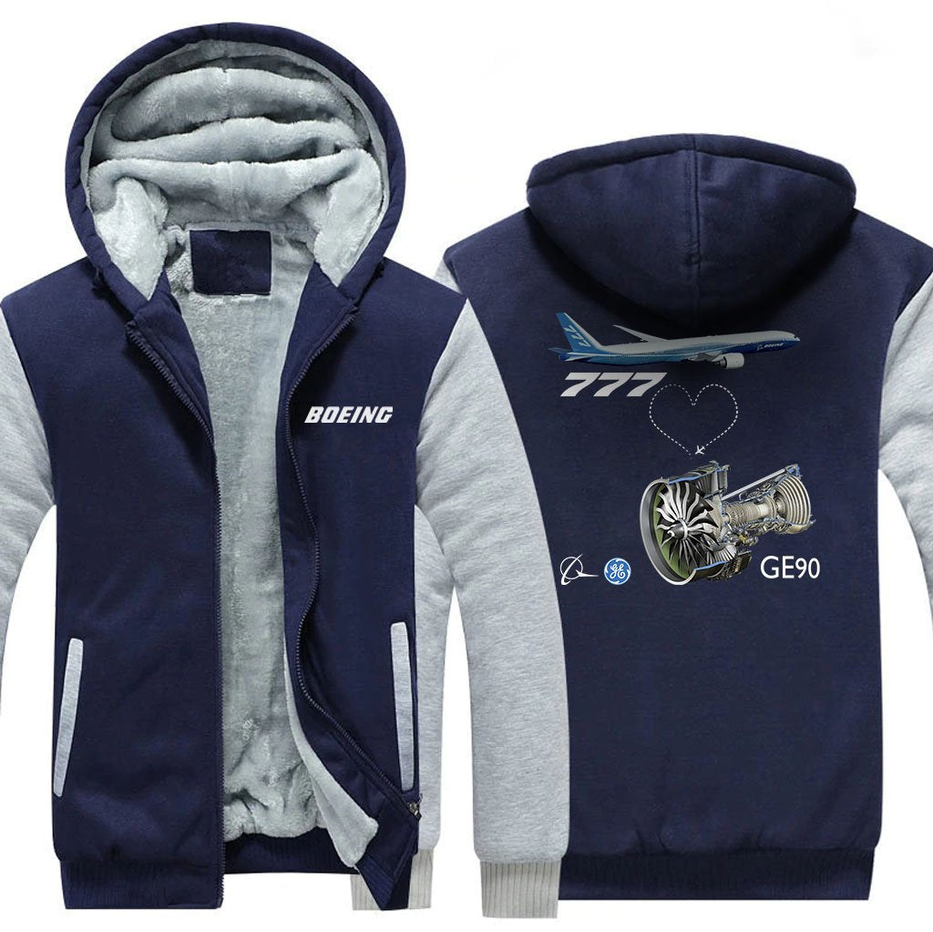 B777 GE90 DESIGNED ZIPPER SWEATER - Blue / S - Hoodies