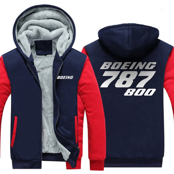 B787 800 DESIGNED ZIPPER SWEATERS - Red / S - Hoodies