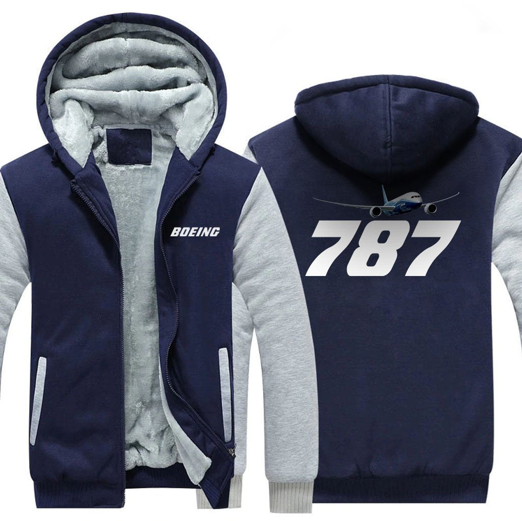 B787 DESIGNED ZIPPER SWEATERS - Blue / S - Hoodies