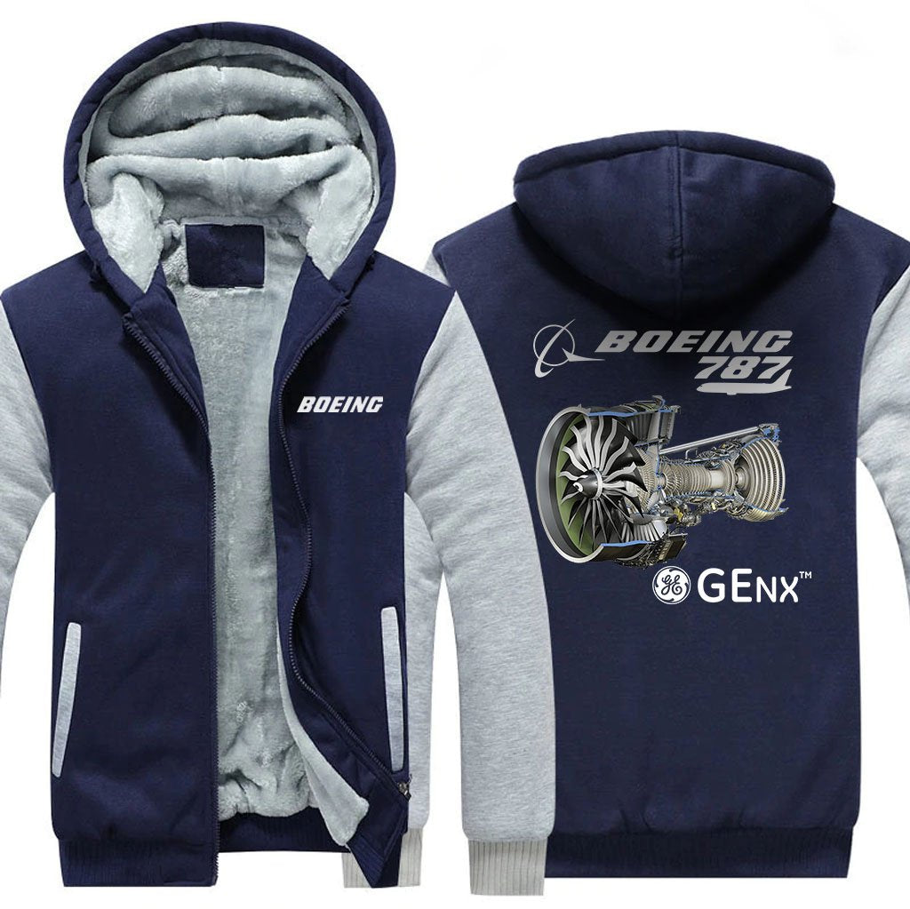 B787 GENX DESIGNED ZIPPER SWEATERS - Blue / S - Hoodies