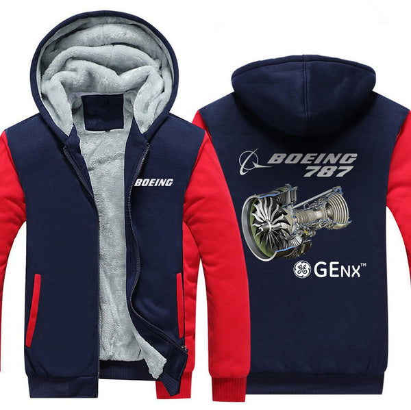 B787 GENX DESIGNED ZIPPER SWEATERS - Red / S - Hoodies