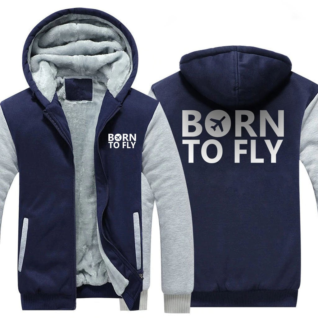 BORN TO FLY DESIGNED ZIPPER SWEATER - Blue / S - Hoodies
