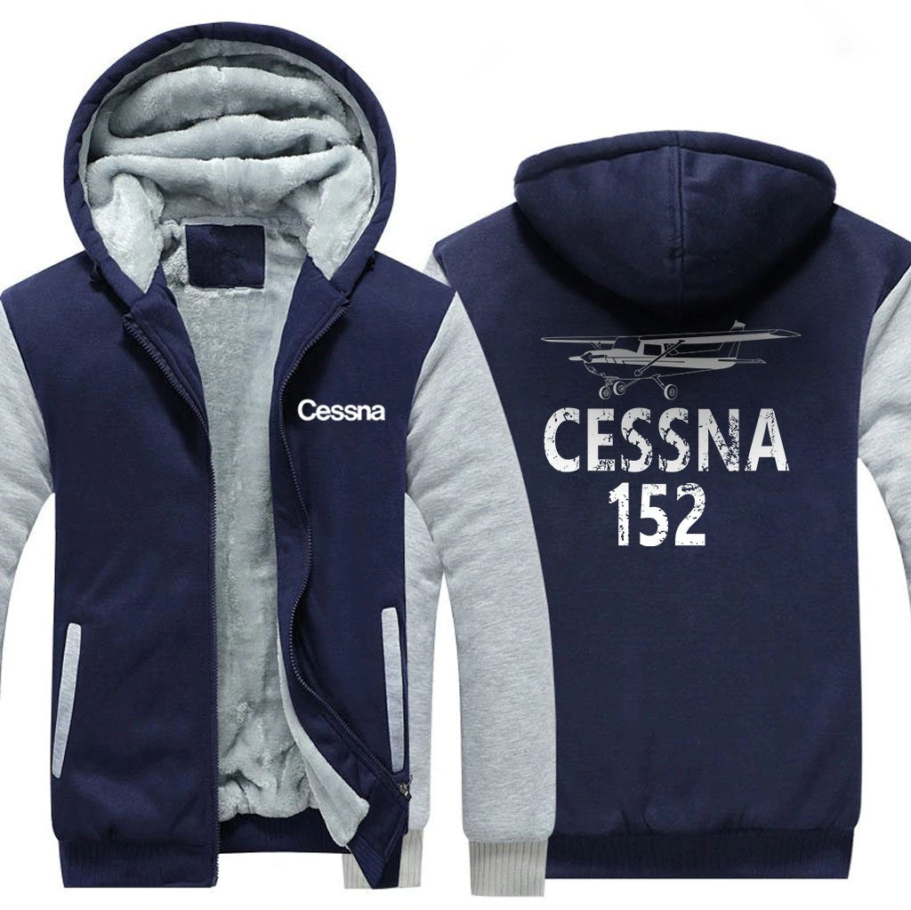 CESSNA 152 DESIGNED ZIPPER SWEATER - Blue / S - Hoodies
