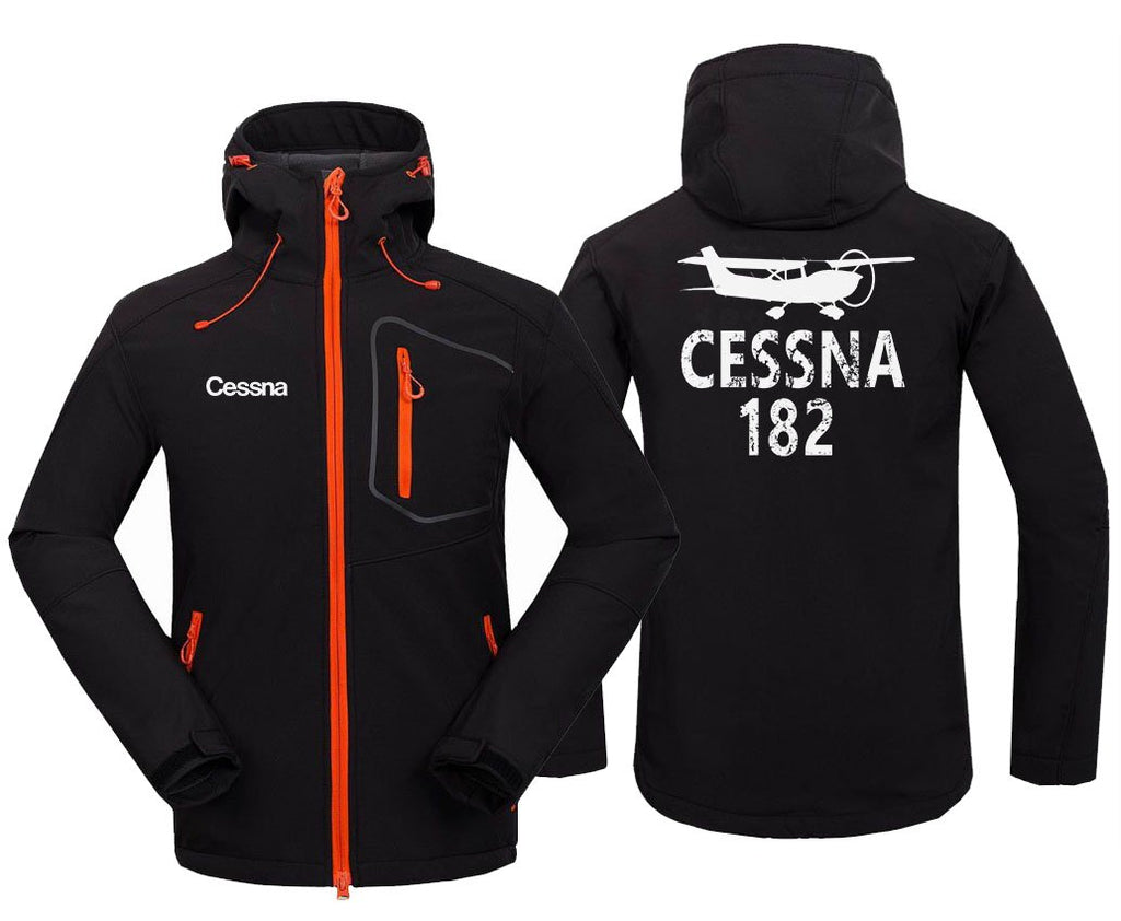 CESSNA 182 DESIGNED FLEECE - Black / S - Hoodie Jacket