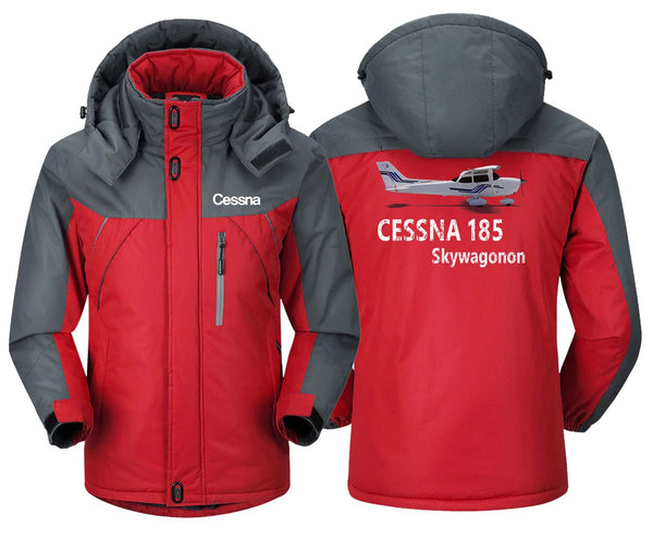 CESSNA 185 DESIGNED - Red Gray / XS - Windbreaker Jackets