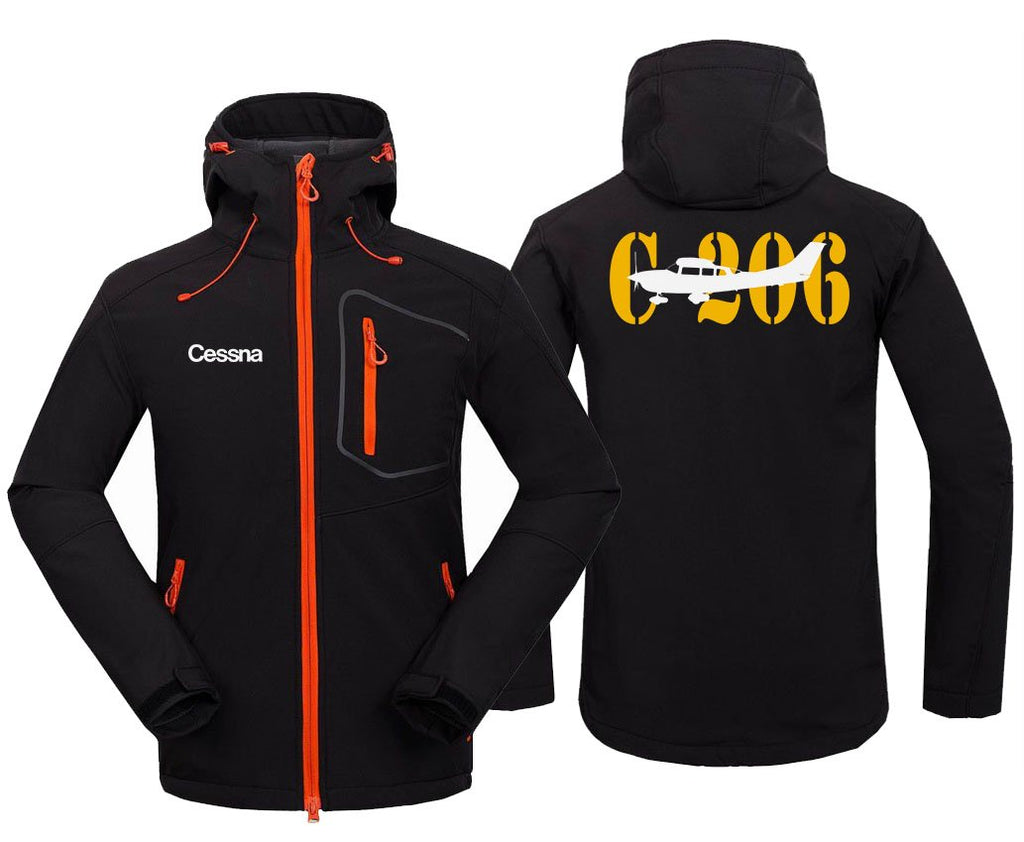 CESSNA 206 DESIGNED FLEECE - Black / S - Hoodie Jacket