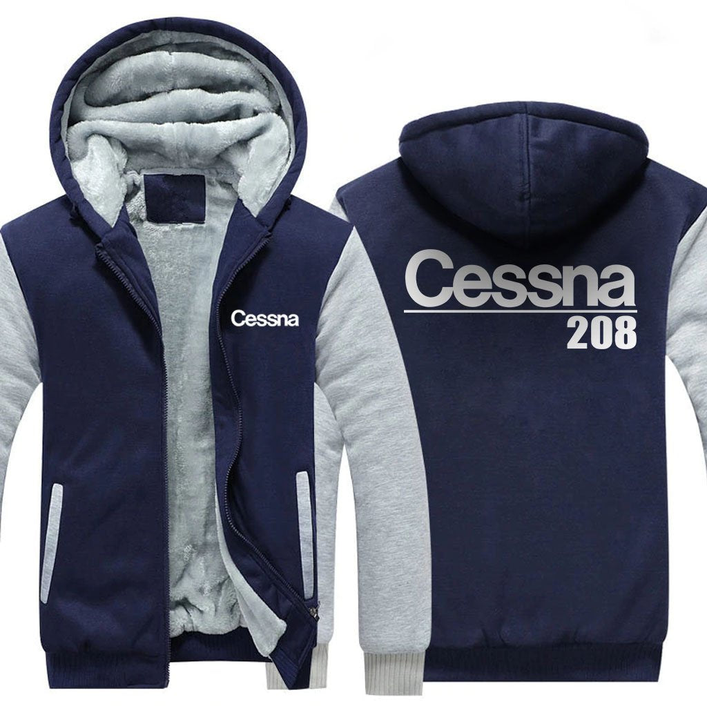 CESSNA 208 DESIGNED ZIPPER SWEATER - Blue / S - Hoodies