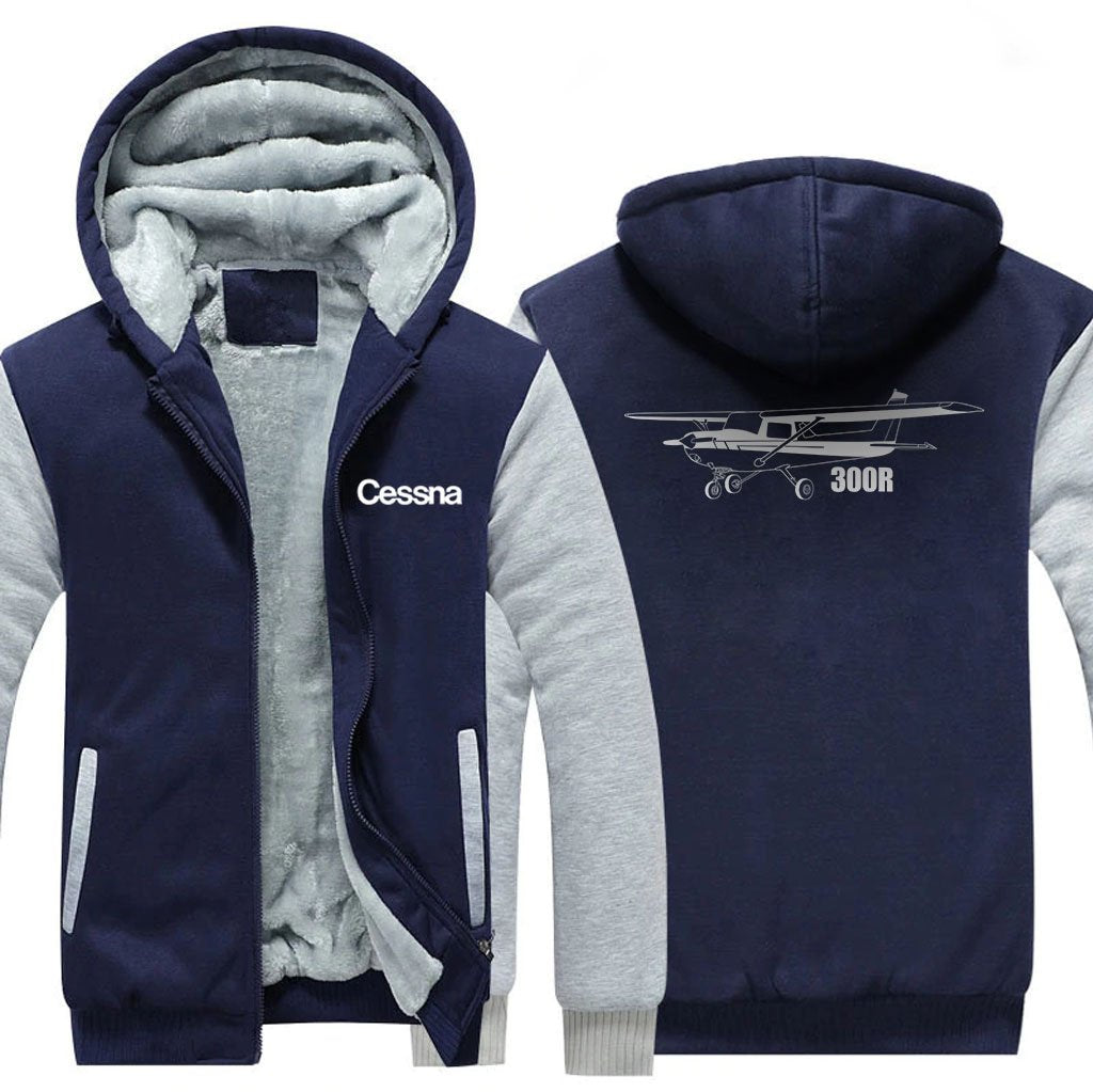 CESSNA 300R DESIGNED ZIPPER SWEATER - Blue / S - Hoodies