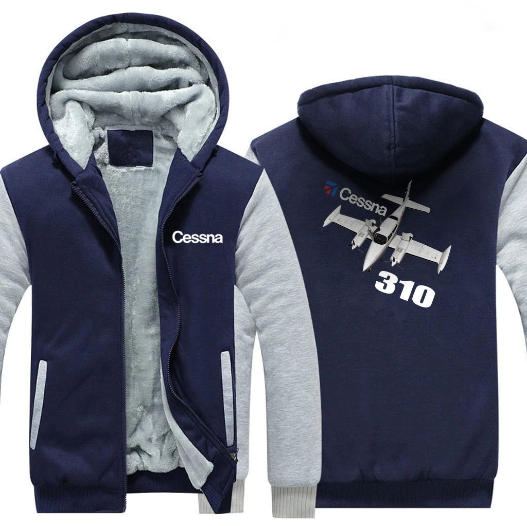 CESSNA 310 DESIGNED ZIPPER SWEATER - Blue / S - Hoodies