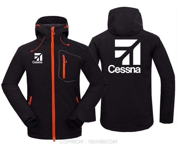 AIRPLANE LOVER Hoodie Jacket Black / S CESSNA