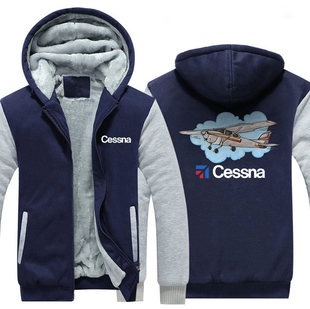CESSNA DESIGNED ZIPPER SWEATER - Blue / S - Hoodies