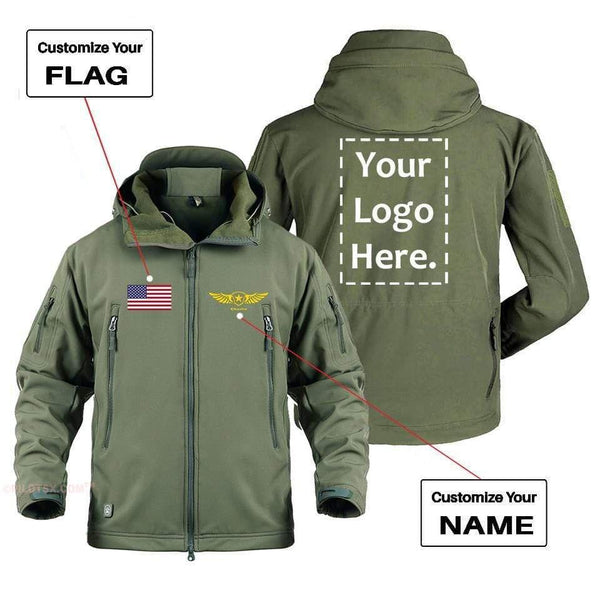 AIRPLANE LOVER Military Fleece Army Green / S CUSTOM FLAG, LOGO & NAME WITH BADGE DESIGNED MILITARY FLEECE