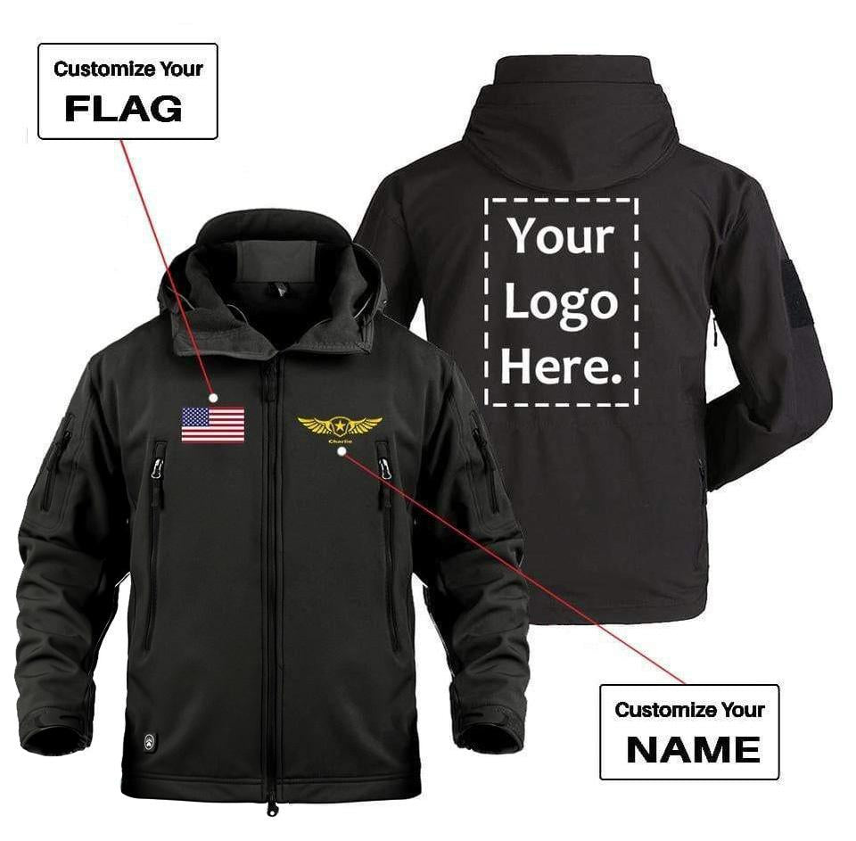 CUSTOM FLAG LOGO & NAME WITH BADGE DESIGNED MILITARY FLEECE