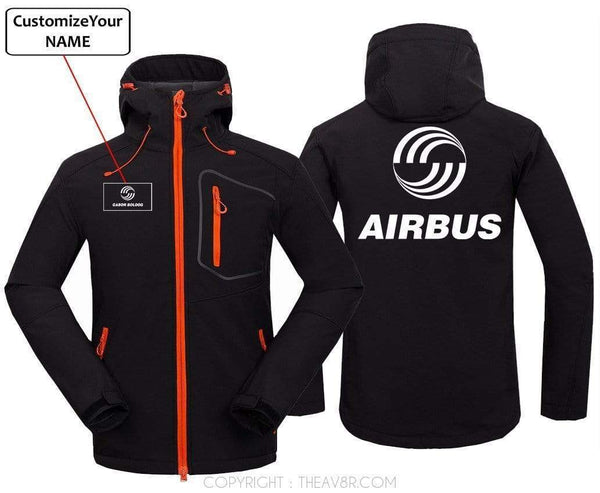 AIRPLANE LOVER Hoodie Jacket Black / S CUSTOM NAME AIRBUS LOGO