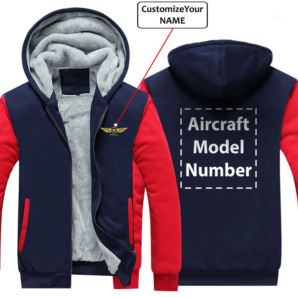 CUSTOM NAME & AIRCRAFT MODEL NUMBER DESIGNED ZIPPER SWEATERS