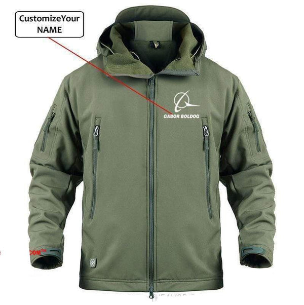 AIRPLANE LOVER Military Fleece Army Green / S CUSTOM NAME BOIENG LOGO - WARM TACTICAL II MILITARY FLEECE