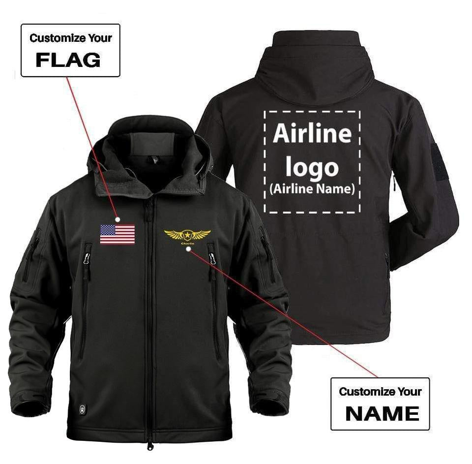 CUSTOM NAME FLAG & AIRLINE LOGO DESIGNED MILITARY FLEECE -