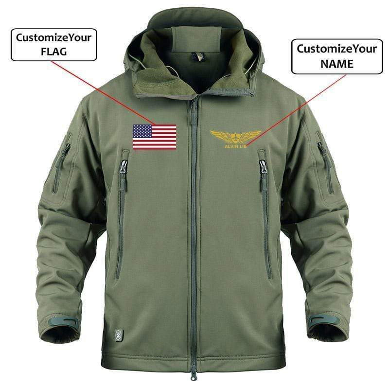 AIRPLANE LOVER Military Fleece Army Green / S CUSTOM NAME & FLAG - WARM TACTICAL II MILITARY FLEECE
