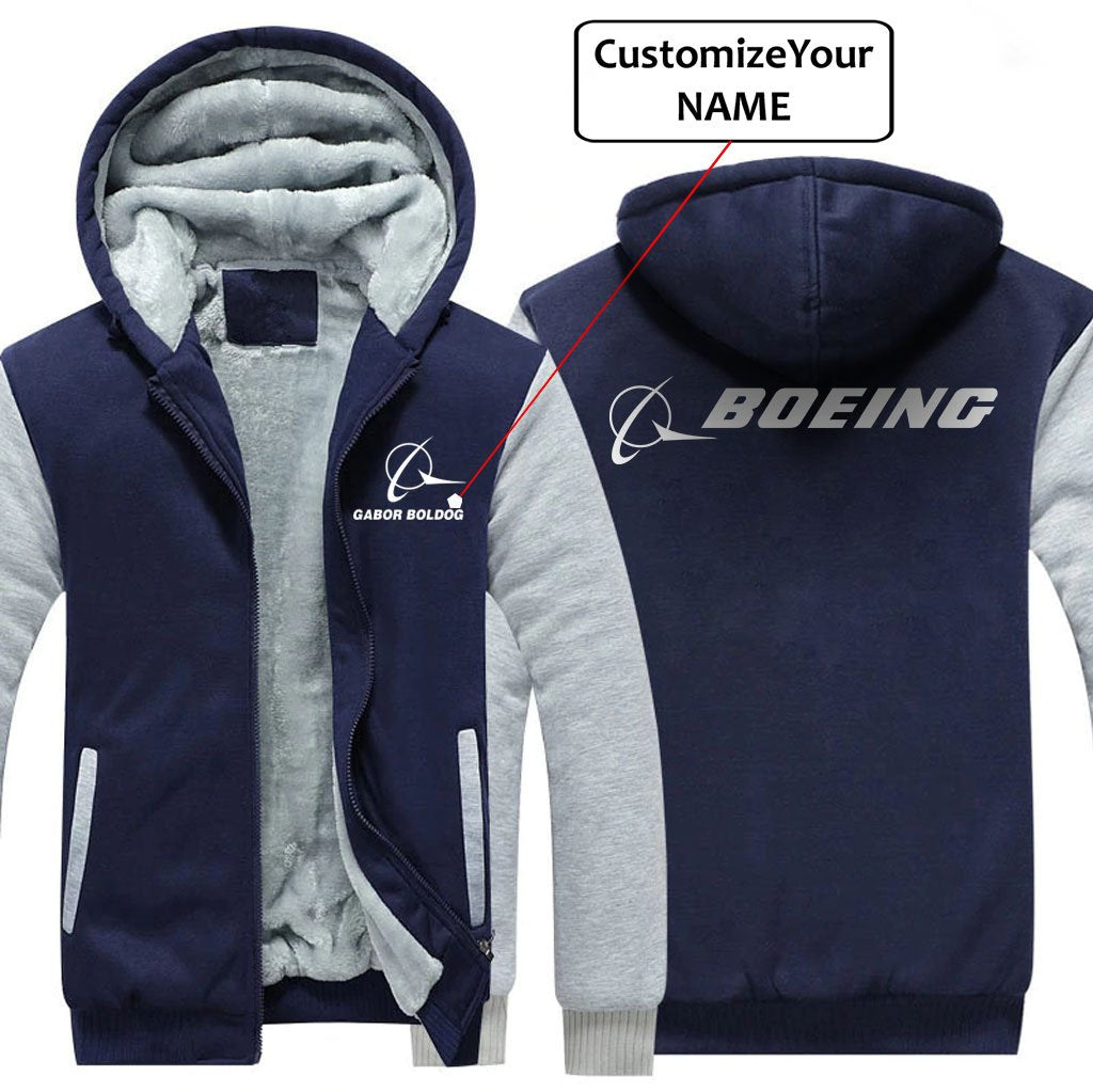 CUSTOM NAME WITH B LOGO DESIGNED ZIPPER SWEATERS - Blue / S