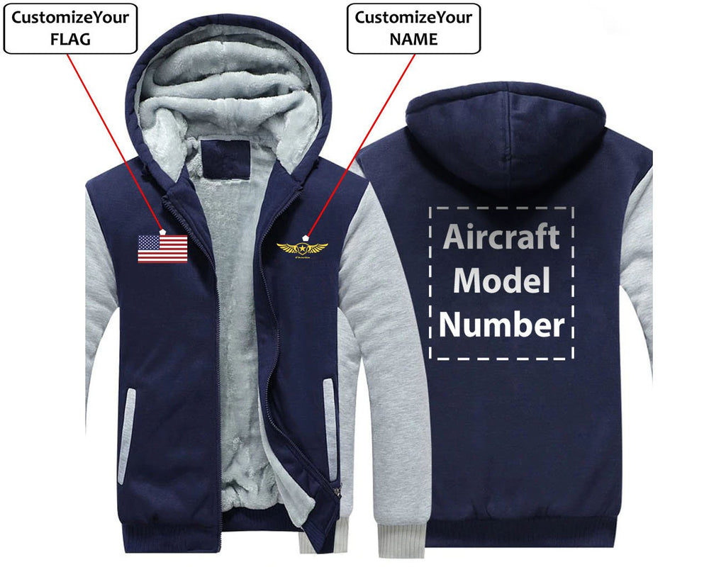 CUSTOM THE FLAG & NAME WITH AIRCRAFT MODEL NUMBER ZIPPER
