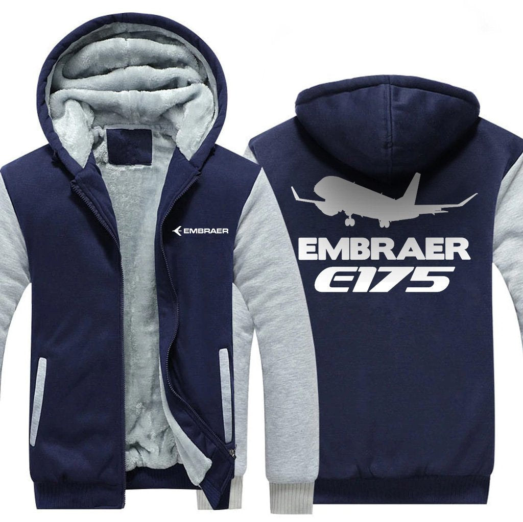 EMBRER E175 DESGINED ZIPPER SWEATER - Blue / S - Hoodies
