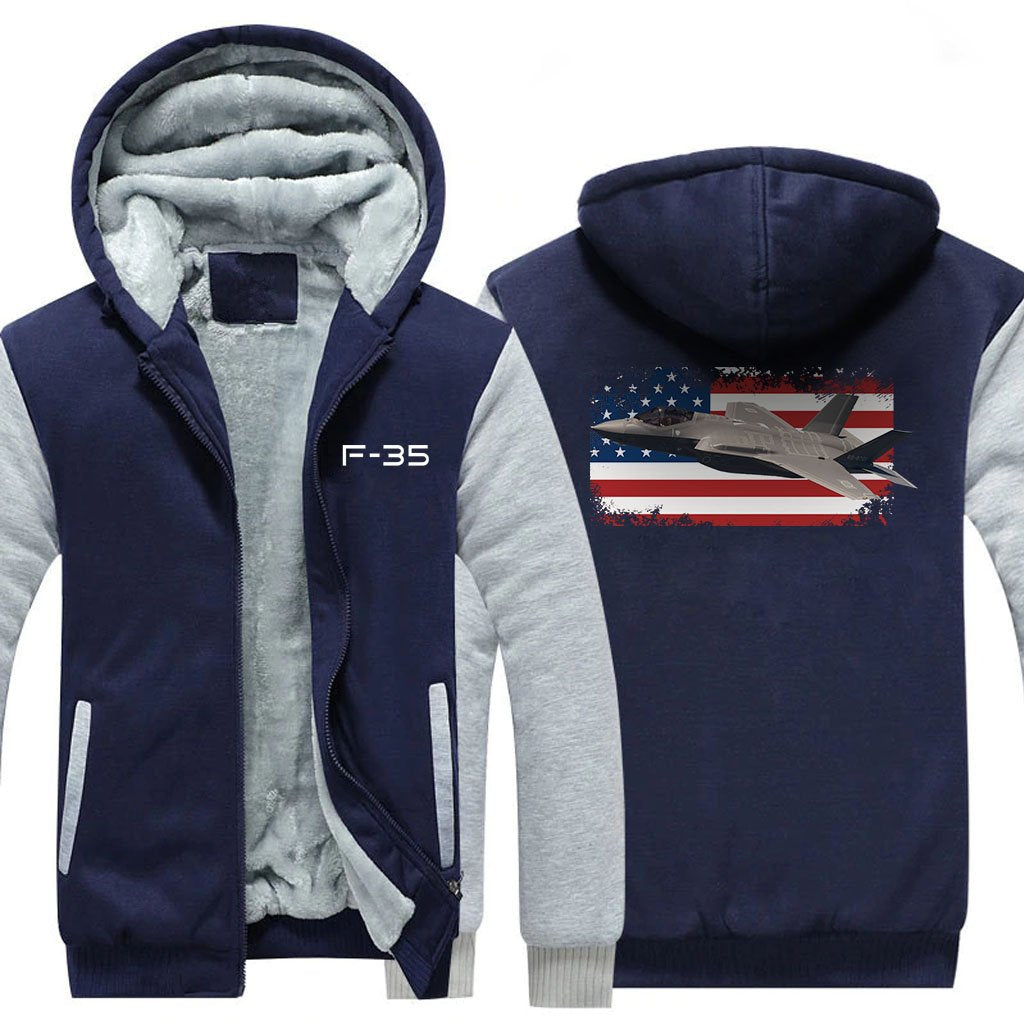 F-35 DESIGNED ZIPPER SWEATER - Blue / S - Hoodies