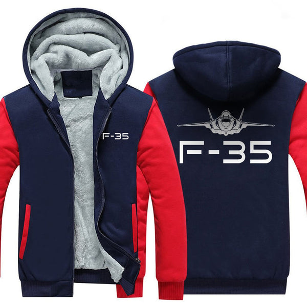 F-35 DESIGNED ZIPPER SWEATER - Red / S - Hoodies