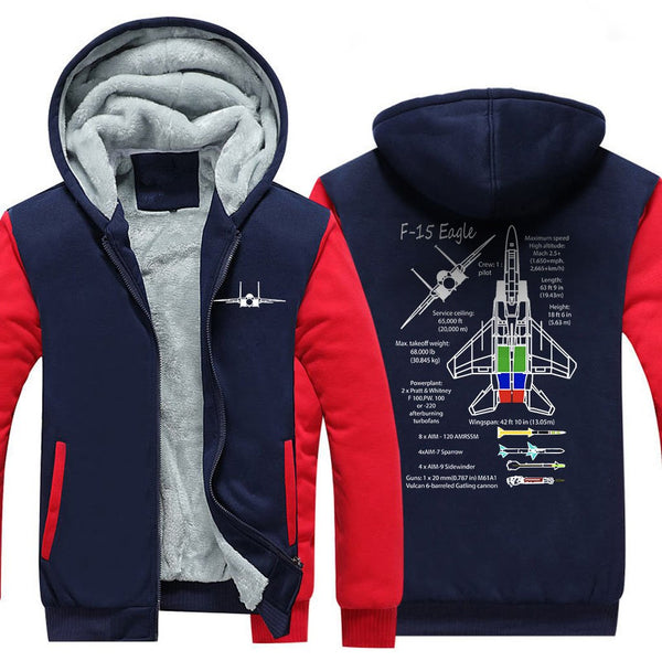 F15 EAGLE.DESIGNED ZIPPER SWEATER - Red / S - Hoodies