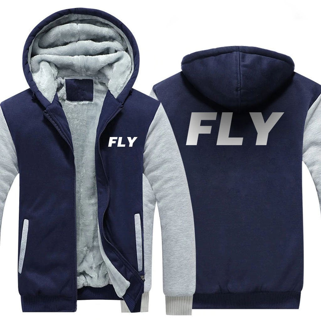 FLY DESIGNED ZIPPER SWEATER - Blue / S - Hoodies