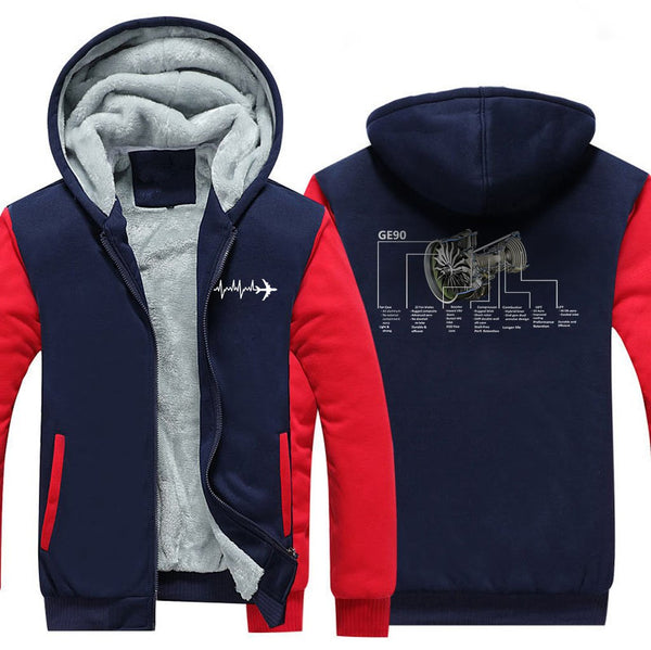 GE90 DESIGNED ZIPPER SWEATER - Red / S - Hoodies
