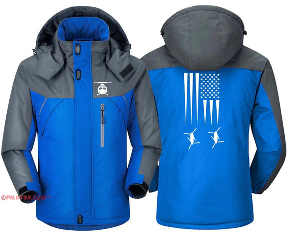 HELICOPTER WITH FLAG - Blue Gray / S - Windbreaker Jackets