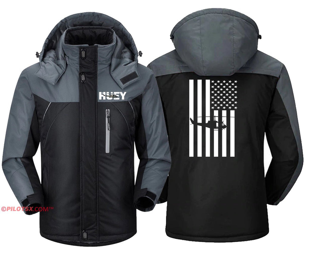 HU-1 HUEY WITH FLAG - Black Gray / S - Windbreaker Jackets