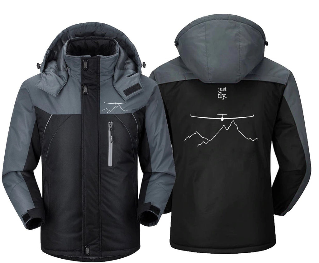 JUST FLY BY GLINDER DESIGNED WINDBREAKER JACKET - Black Gray