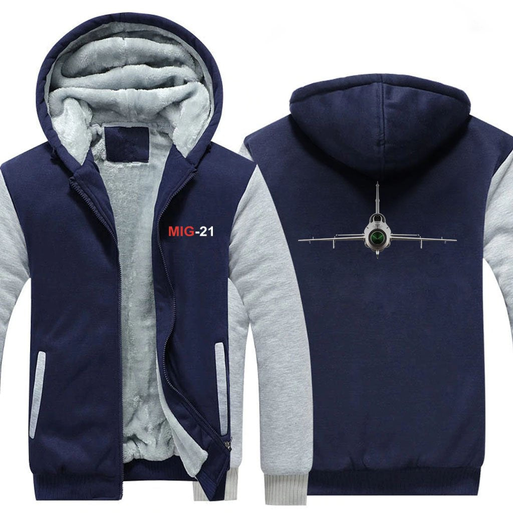 M I G 2 1 DESIGNED ZIPPER SWEATER - Blue / S - Hoodies