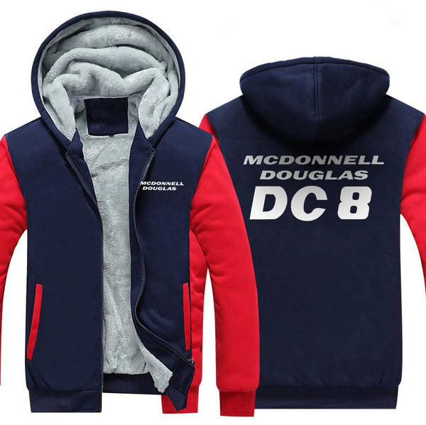 MCDONNELL DOUGLAS DC 8 DESIGNED ZIPPER SWEATER - Red / S -