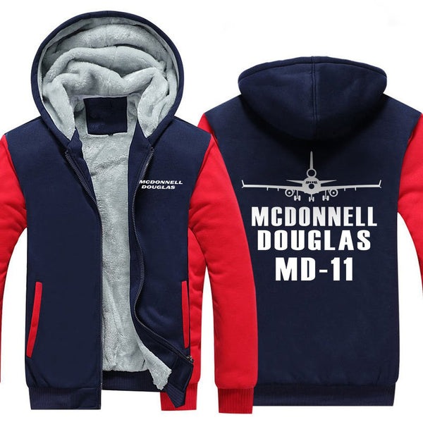 MCDONNELL DOUGLAS MD 11 DESIGNED ZIPPER SWEATER - Red / S -