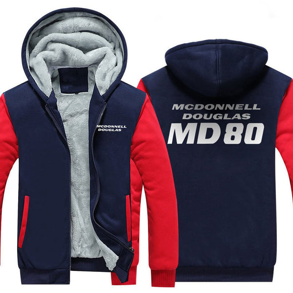 MCDONNELL DOUGLAS MD 80 DESIGNED ZIPPER SWEATER - Red / S -